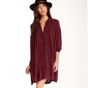 Free People Wine Snap Out Of It Spin Me Tunic Sm